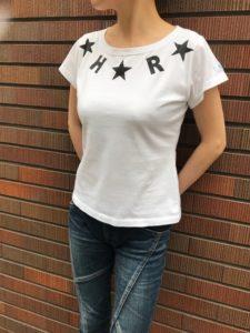 HRSKY スターロゴTシャツ レディース白 日本製Tシャツ madeinjapan